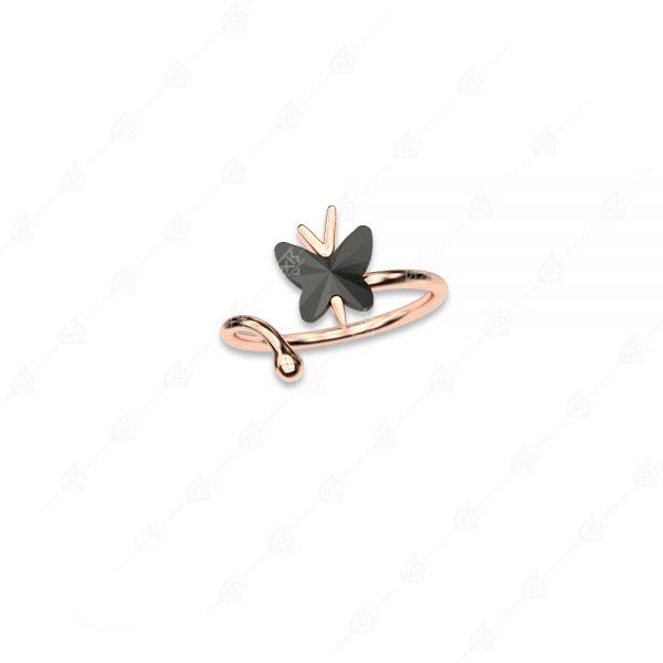 Δαχτυλίδι ασήμι 925 με μαύρη πεταλούδα
