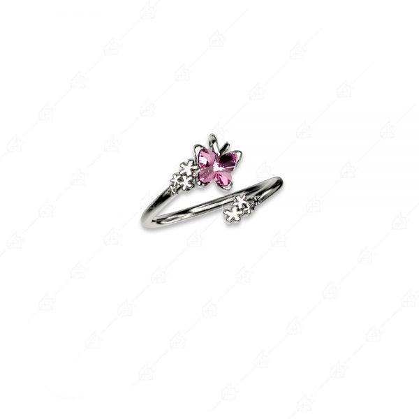 Δαχτυλίδι ασήμι 925 με ροζ πεταλούδα