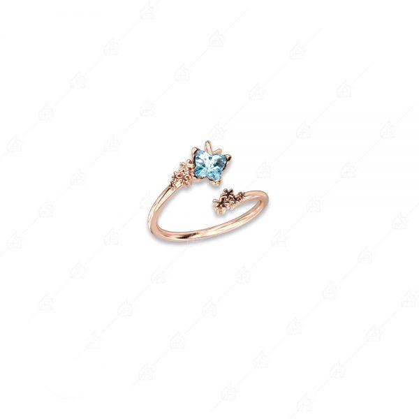 Δαχτυλίδι ασήμι 925 με γαλάζια πεταλούδα