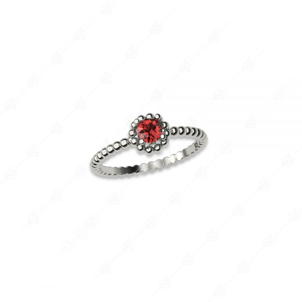 Δαχτυλίδι ασήμι 925 με στρογγυλό κόκκινο κρύσταλλο