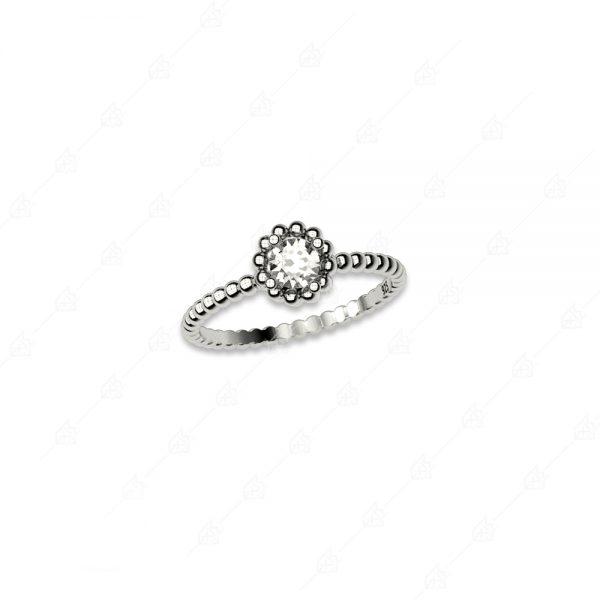 Δαχτυλίδι ασήμι 925 με στρογγυλό λευκό κρύσταλλο