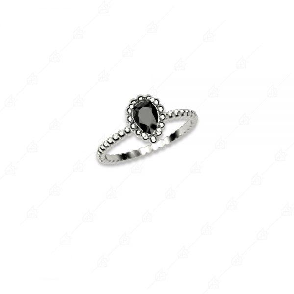 Δαχτυλίδι με μαύρο δάκρυ ασήμι 925