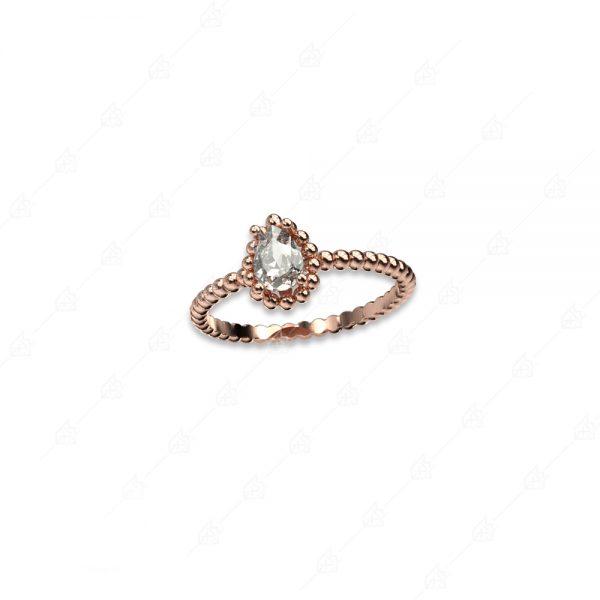 Δαχτυλίδι με λευκό δάκρυ ασήμι 925 ροζ επιχρυσωμένο