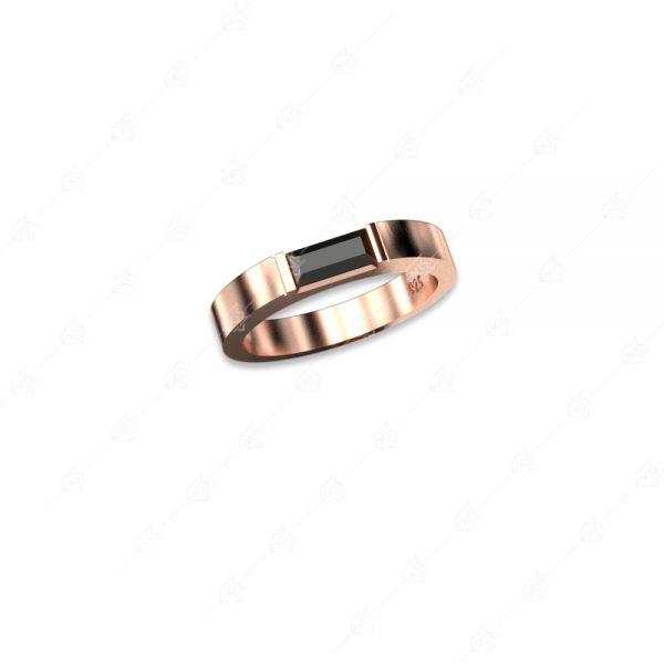 Βεράκι με παγιέτα μαύρη ασήμι 925 με ροζ επιχρύσωμα