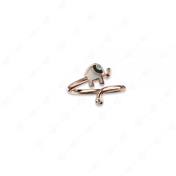 Δαχτυλίδι ελεφαντάκι ασήμι 925 ροζ επιχρυσωμένο