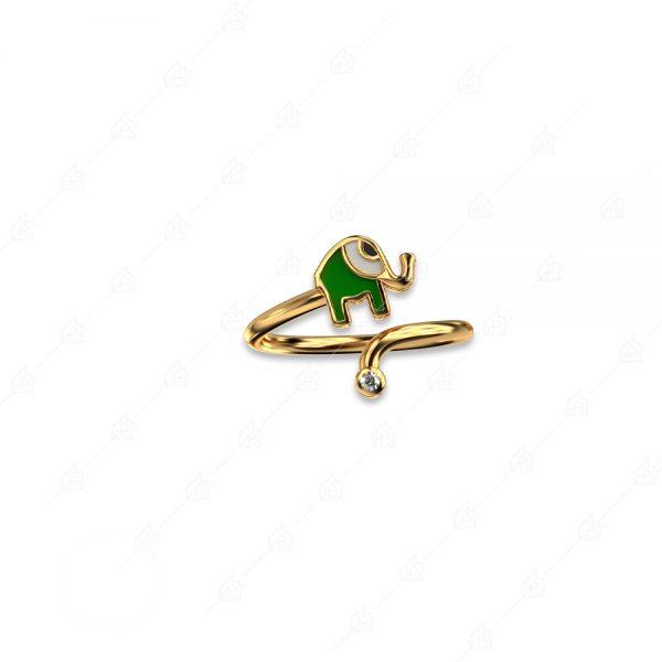 Δαχτυλίδι ελεφαντάκι ασήμι 925 κίτρινο επιχρυσωμένο