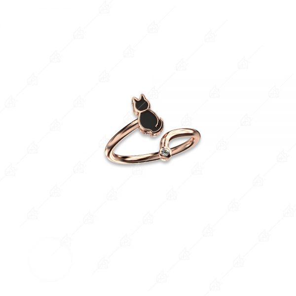 Δαχτυλίδι γατούλα ασήμι 925 ροζ επιχρυσωμένο
