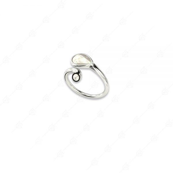 Δαχτυλίδι δάκρυ πέρλα ασήμι 925