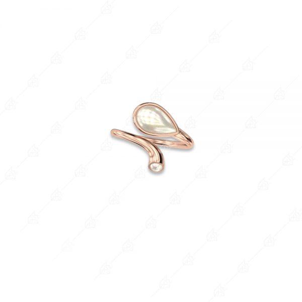 Δαχτυλίδι δάκρυ πέρλα ασήμι 925 με ροζ επιχρύσωμα