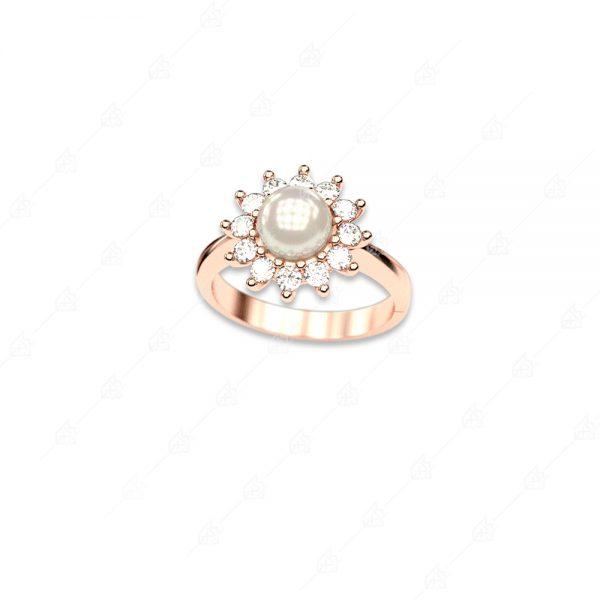 Δαχτυλίδι πέρλα ασήμι 925 με ροζ επιχρύσωμα