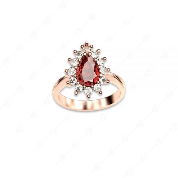 Δαχτυλίδι ασήμι 925 ροζέτα με μεγάλο δάκρυ