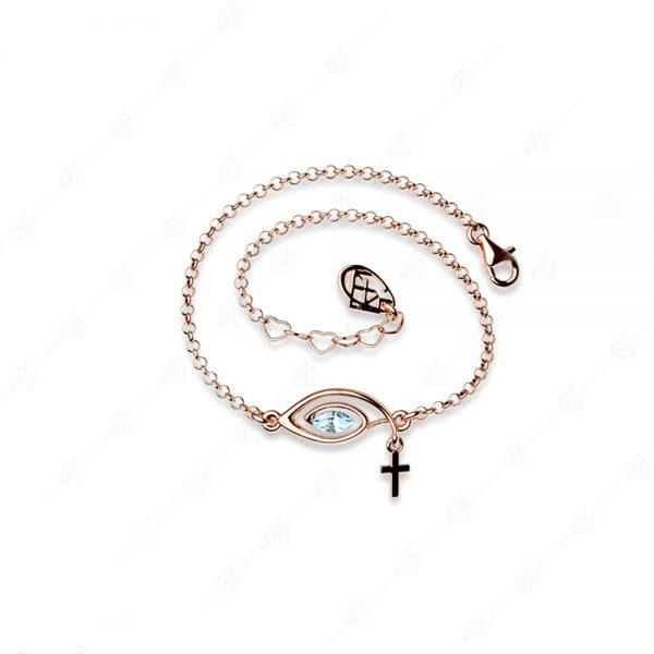 Βραχιόλι με γαλάζιο μάτι και σταυρό ασήμι 925
