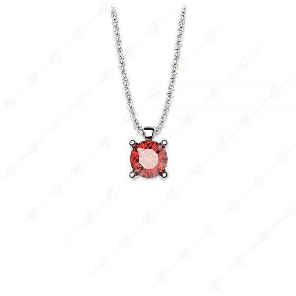 Μονόπετρο με κόκκινο κρύσταλλο ασήμι 925