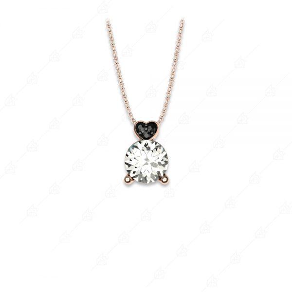 Κολιέ λευκό μονόπετρο ασήμι 925 με μαύρη καρδιά