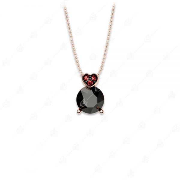 Κολιέ μαύρο μονόπετρο ασήμι 925 κόκκινη με καρδιά