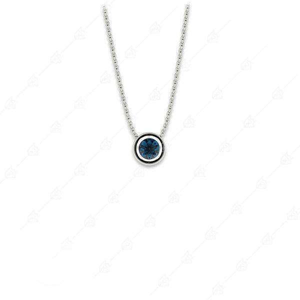 Στρογγυλό μπλε μονόπετρο ασήμι 925