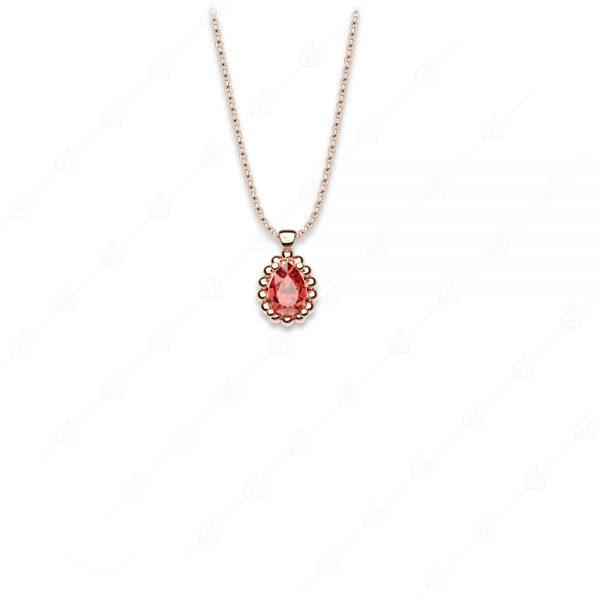 Κολιέ δάκρυ κόκκινο μονόπετρο ασήμι 925 ροζ επιχρυσωμένο