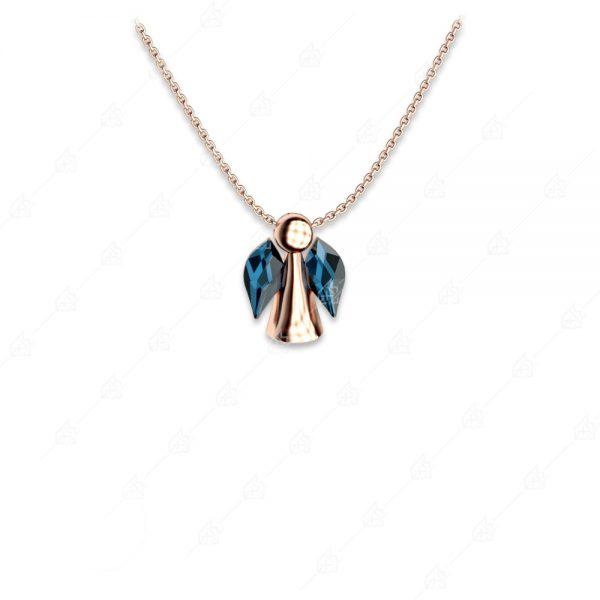 Κολιέ αγγελάκι ασήμι 925 με μπλε κρύσταλλα