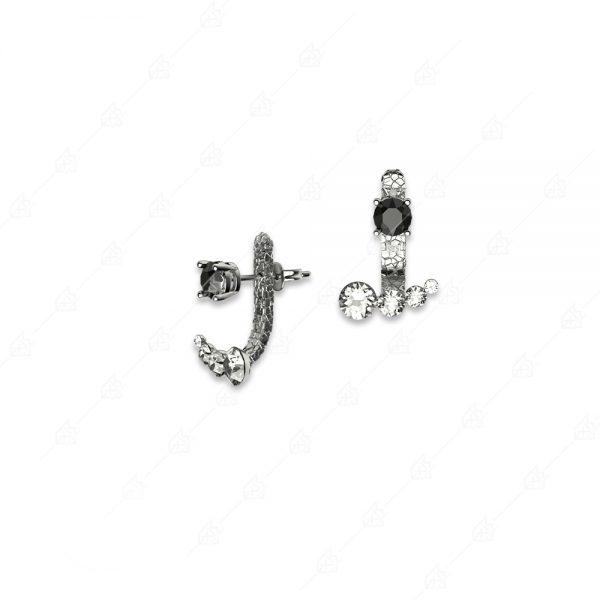 Ασημένια σκουλαρίκια 925 με λευκά και μαύρα κρύσταλλα