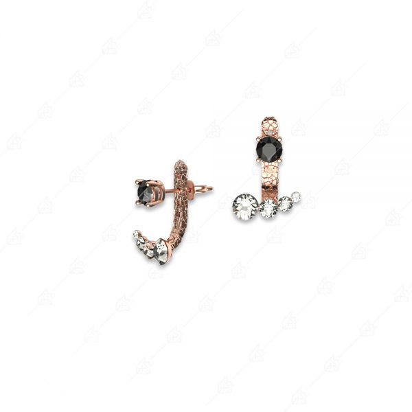 Ασημένια σκουλαρίκια 925 ροζ επιχρυσωμένα με λευκά και μαύρα κρύσταλλα