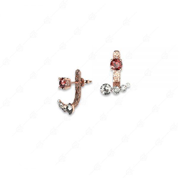 Ασημένια σκουλαρίκια 925 ροζ επιχρυσωμένα με λευκά και κόκκινα κρύσταλλα