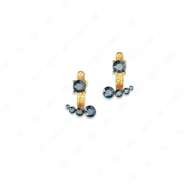 Ασημένια σκουλαρίκια 925 κίτρινα επιχρυσωμένα με μπλε κρύσταλλα