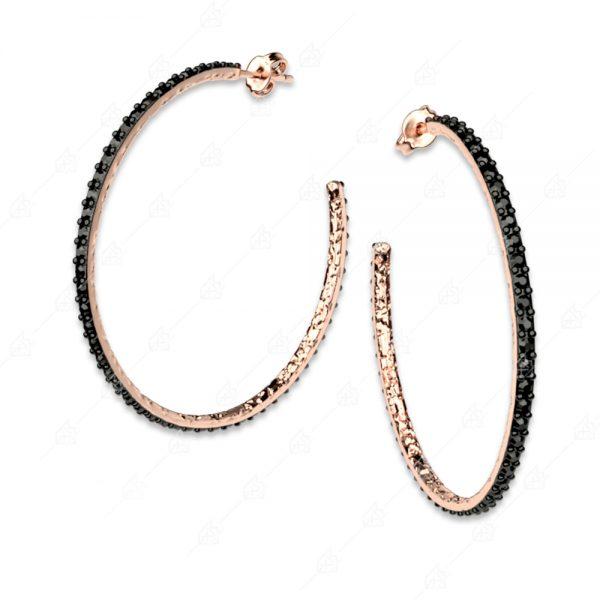 Σκουλαρίκια μεγάλοι κρίκοι ασήμι 925 με ροζ επιχρύσωμα
