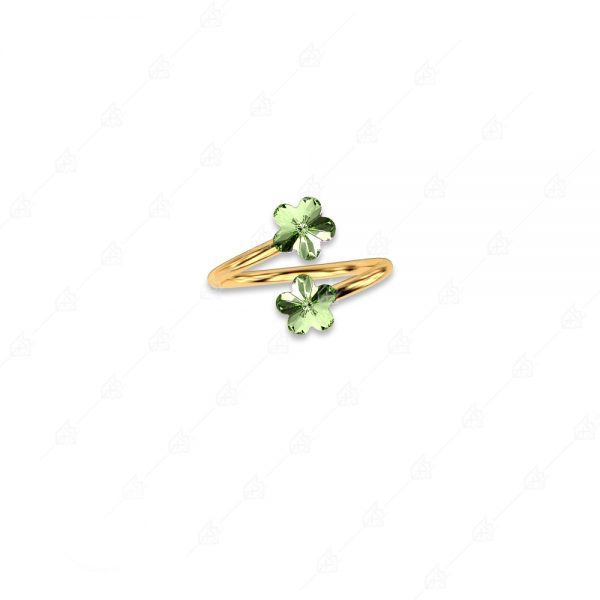 Δαχτυλίδι ασήμι 925 με δύο λουλουδάκια