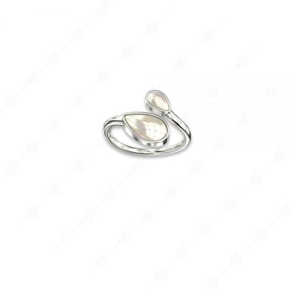 Δαχτυλίδι πέρλα με δύο δάκρυα ασήμι 925