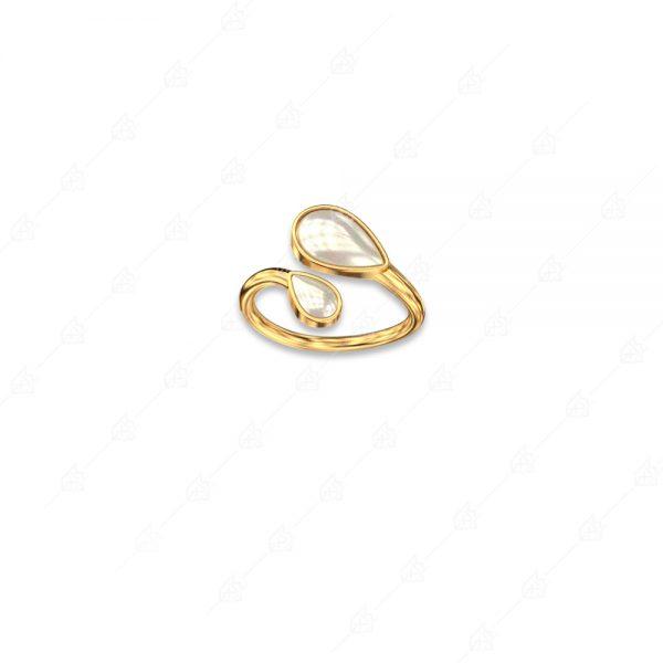 Δαχτυλίδι πέρλα με δύο δάκρυα ασήμι 925 κίτρινο επιχρυσωμένο