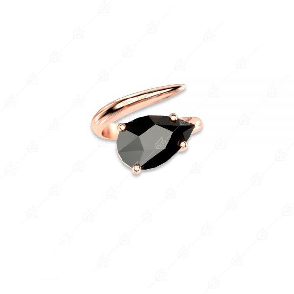 Δαχτυλίδι ασήμι 925 με μαύρο δάκρυ