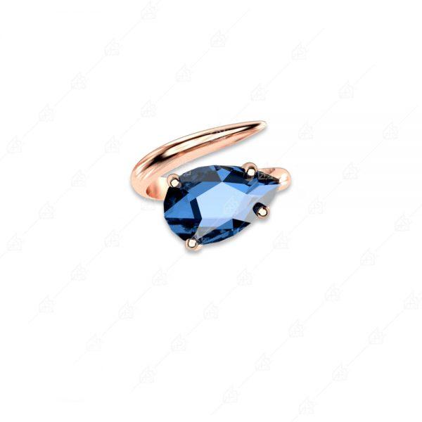 Δαχτυλίδι ασήμι 925 με μωβ δάκρυ