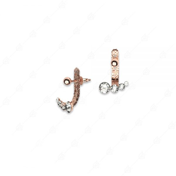 Ασημένια σκουλαρίκια 925 ροζ επιχρυσωμένα με λευκά κρύσταλλα
