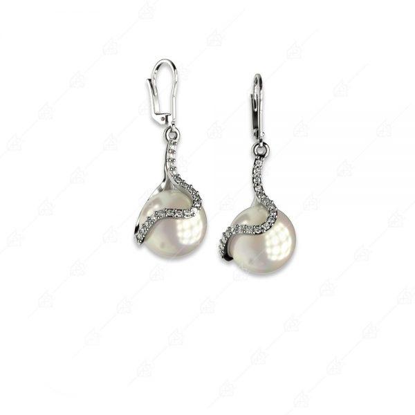 Ασημένια σκουλαρίκια 925 πέρλα με ιδιαίτερο σχέδιο
