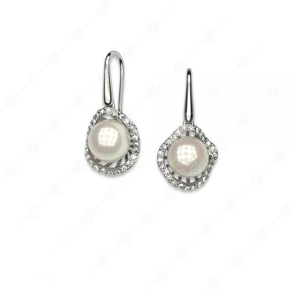 Κρεμαστά ασημένια σκουλαρίκια 925 με πέρλες