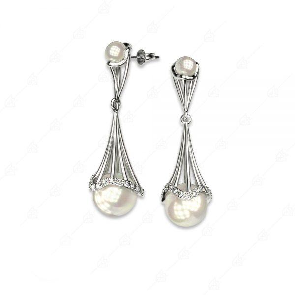 Πρωτότυπα σκουλαρίκια ασήμι 925 με πέρλες