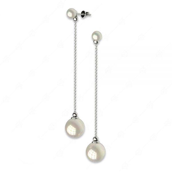 Λεπτά ασημένια σκουλαρίκια 925 με πέρλες