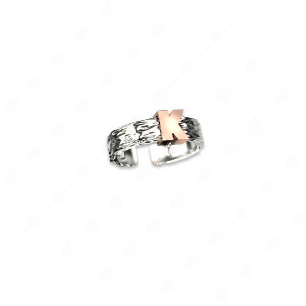 Ασημένιο δαχτυλίδι 925 με μονόγραμμα Κ